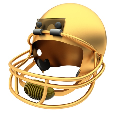 square image: Golden football helmet isolated over White, 3d render, square image Stock Photo