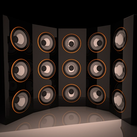 amps: Amps in semicircle, 3d render, square image
