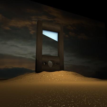 guillotine: Guillotine over dark landscape, 3d render, square image