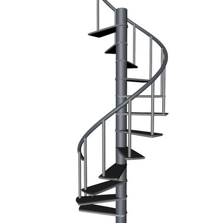 espiral: escalera de caracol, aislado más de blanco, 3d, imagen cuadrada