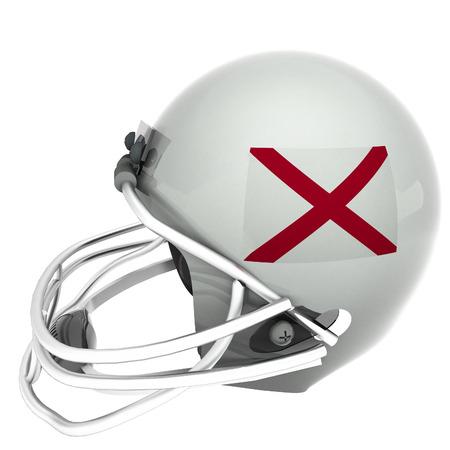 alabama flag: Alabama flag over football helmet, 3d render, isolated over white, square image Stock Photo