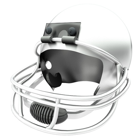 square image: Black football helmet isolated over white, 3d render, square image