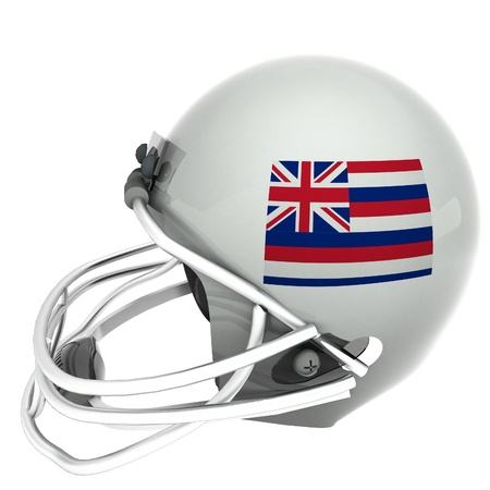 hawaii flag: Hawaii flag over football helmet, 3d render, isolated over white, square image Stock Photo