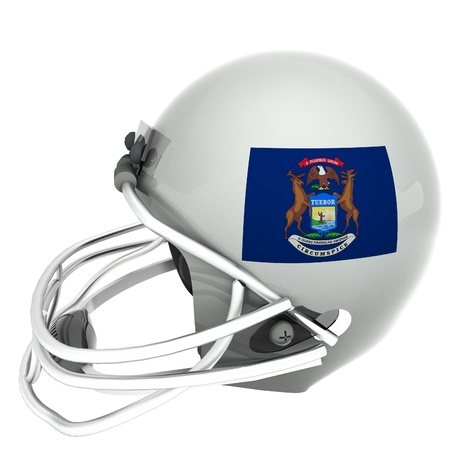 michigan flag: Michigan flag over football helmet, 3d render, square image, isolated over white