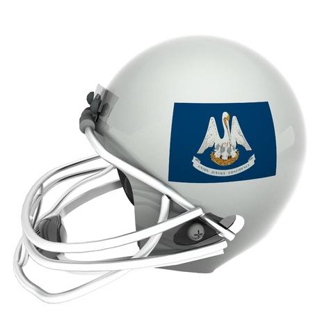 louisiana flag: Louisiana flag over football helmet, 3d render, square image, isolated over white Stock Photo