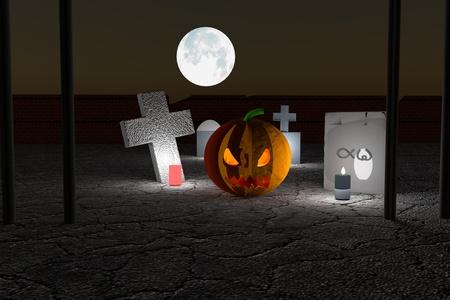 jack o' lantern: Jack-O-Lantern in a cemetery, 3d render, horizontal image Stock Photo