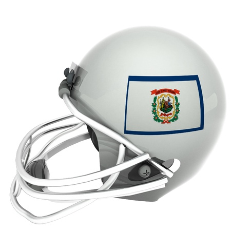 3d virginia: West Virginia flag over football helmet, 3d render, square image, isolated over white