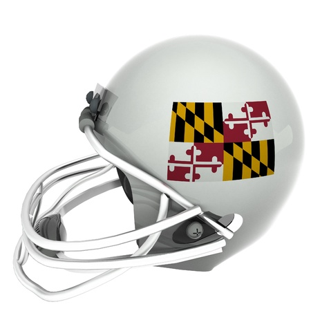 maryland flag: Maryland flag over football helmet, 3d render, square image, isolated over white Stock Photo