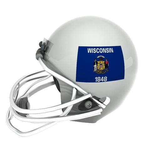 wisconsin flag: Wisconsin flag over football helmet, 3d render, square image, isolated over white