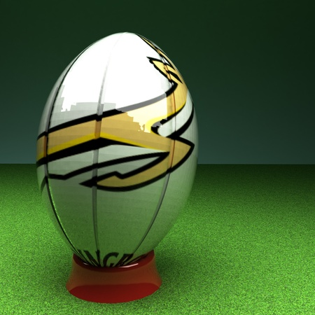 the federation: South Africa rugby federation symbol over rugby ball, 3d render, square image Stock Photo