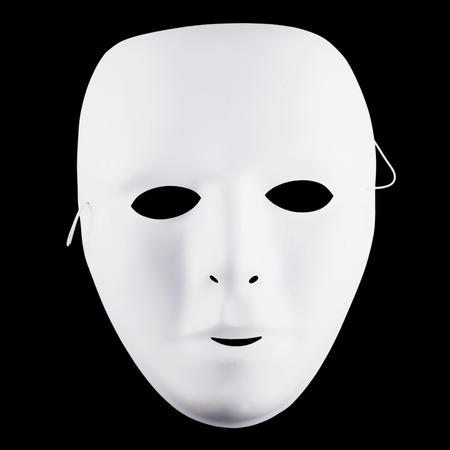 White mask over black background, square image