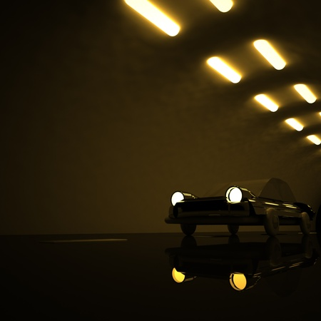 square image: Tunnel with car, 3d render, square image