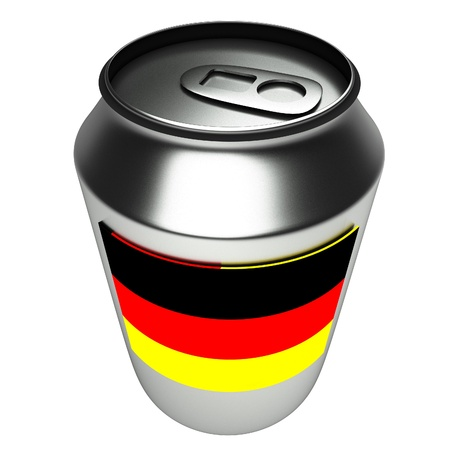aluminium can: Germany flag over aluminium can, 3d render, white background, square image