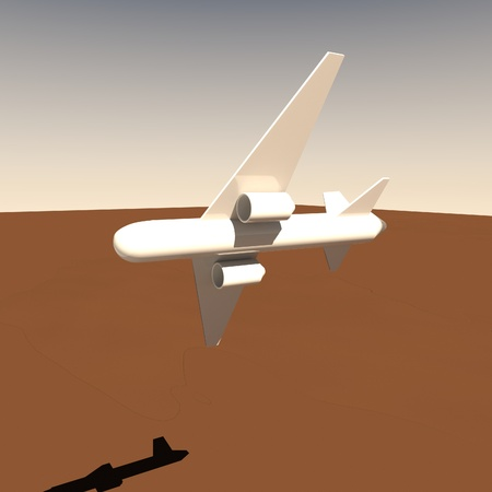 square image: Airplane in the turn, 3d render, square image