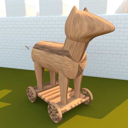troya: Trojan Horse near city walls, 3d render, square image