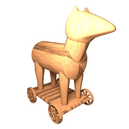 Trojan Horse isolated over white, 3d render, square image