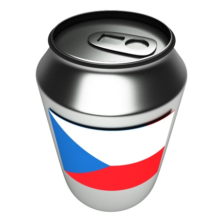 aluminium can: Czech flag over aluminium can, 3d render, white background, square image