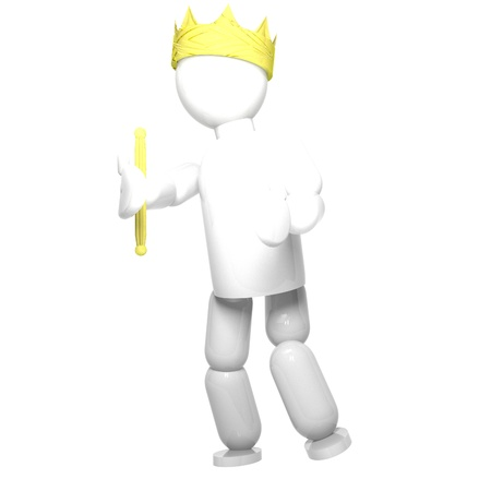 sceptre: King with crown and sceptre, isolated over white, 3d render, square image
