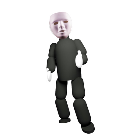 3d puppet: Actor puppet with white mask, isolated over white, 3d render