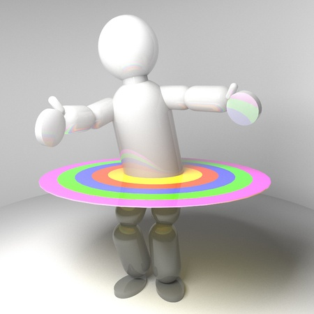 3d puppet: 3d Puppet with circles in colors, square image
