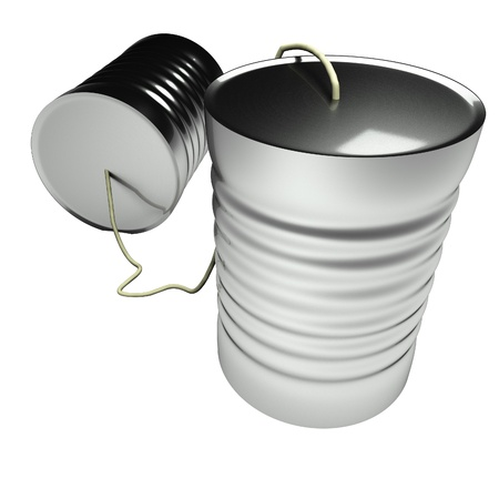 tin can phone: Tin can phone isolated over white, 3d render