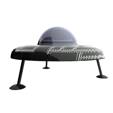 abduction: UFO over white, 3d render, square image