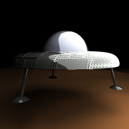 abduction: UFO over dirt, 3d render, square image