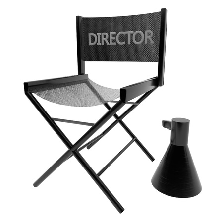 directors: Directors chair, isolated over white, 3d render, square image Stock Photo
