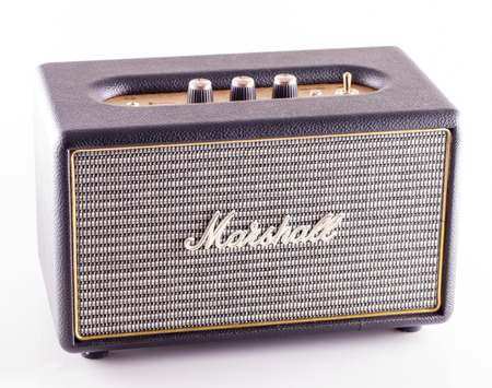 amplification: DECEMBER 12, 2015: Marshall amp over white. Marshall Amplification is one of leading worldwide brand in sound amplification and musical instruments. Editorial