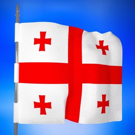 square image: Georgia flag in blue sky, 3d render, square image