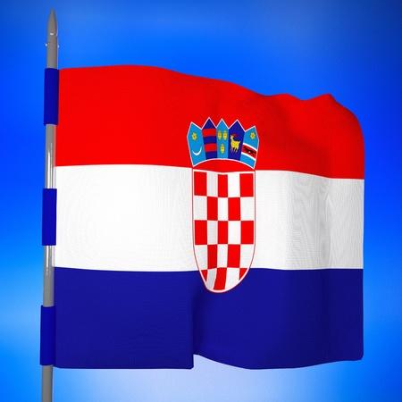 bandera de croacia: Bandera de Croacia en el cielo azul, 3d, imagen cuadrada Foto de archivo
