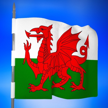 green dragon: Wales flag in blue sky, 3d render, square image
