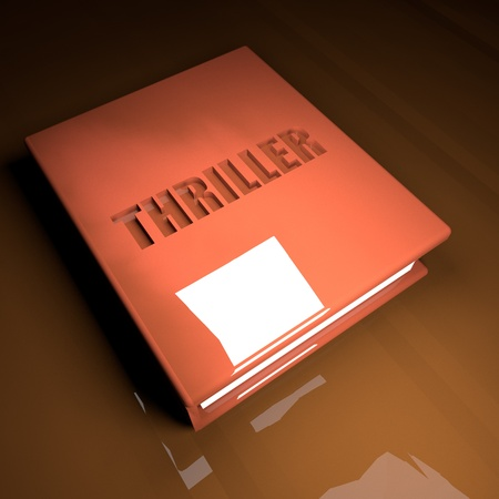 thriller: Thriller Book with leather cover, over wooden table, 3d render