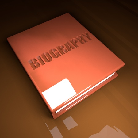 biography: Biography Book with leather cover, over wooden table, 3d render