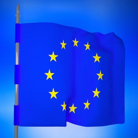 commission: European Union flag in blue sky, 3d render, square image Stock Photo
