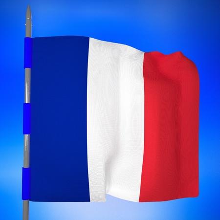 square image: France flag in blue sky, 3d render, square image Stock Photo