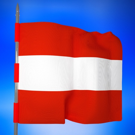 square image: Austria flag in blue sky, 3d render, square image