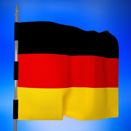 square image: Germany flag over blue sky, 3d render, square image Stock Photo