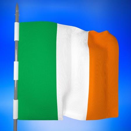 ireland flag: Ireland flag over blue sky, 3d render, square image Stock Photo