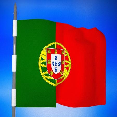 square image: Portugal flag over blue sky, 3d render, square image