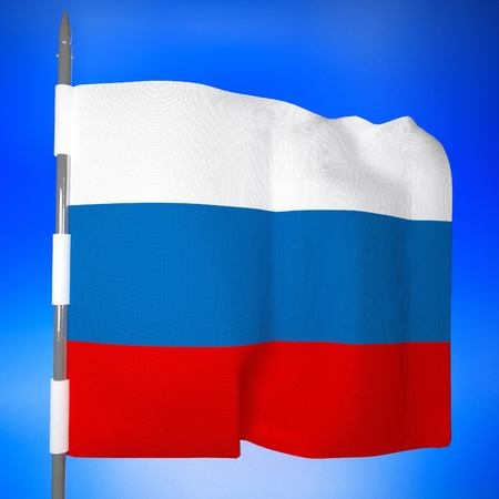 square image: Russia flag over blue sky, 3d render, square image