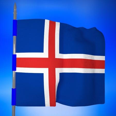 square image: Iceland flag over blue sky, 3d render, square image