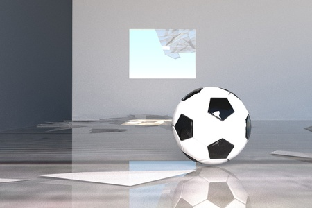 broken window: Football and broken window in a room, 3d render