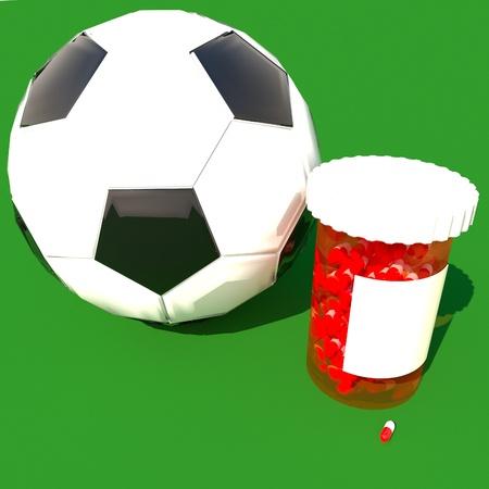futbol: Pills tube near a soccer ball, 3d render, square image