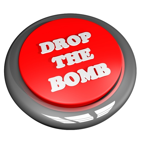 deadly dangerous: Drop the bomb button, isolated over white, 3d render Stock Photo