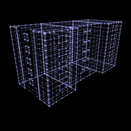 square image: Project of building, 3d render, square image