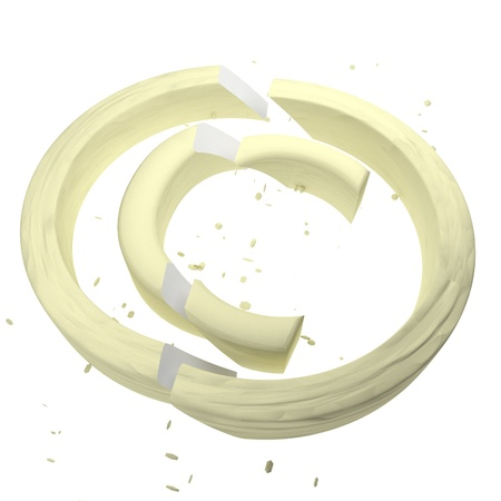 copyright symbol: Broken copyright symbol over white, 3d render, square image