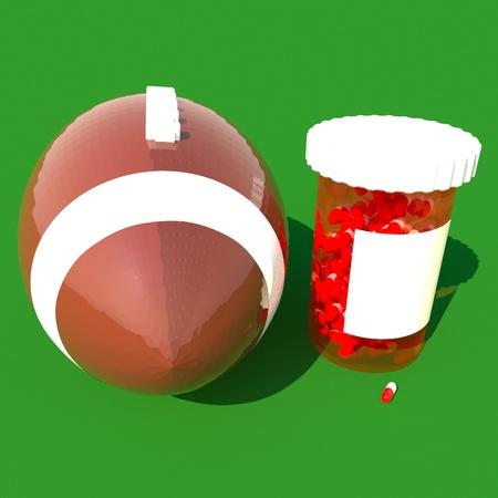 square image: Pills tube near a football, 3d render, square image Stock Photo