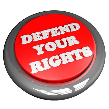 defend: Defend your rights button, isolated over white, 3d render