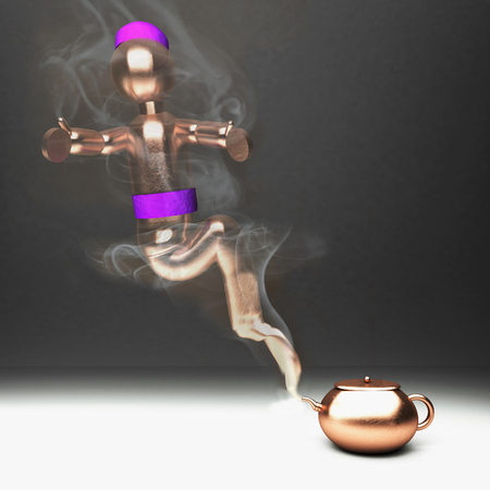 jinn: Genie coming out from a bronze teacup, square image, 3d render